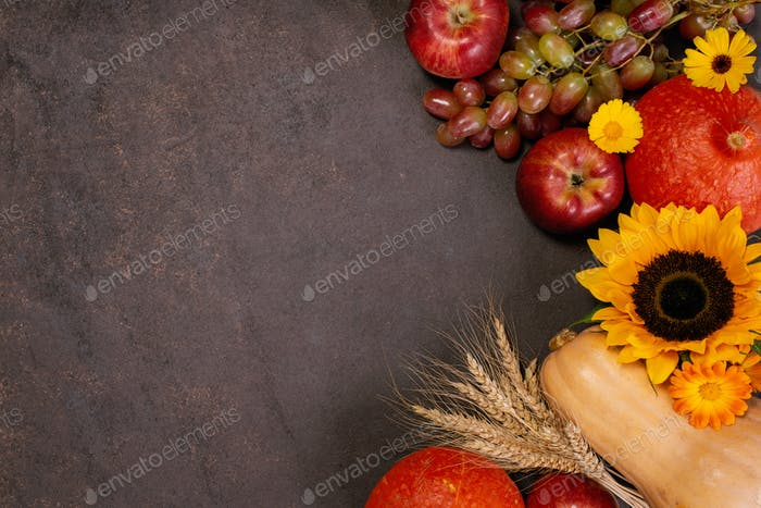 Background with Autumn Fruits and Veggies