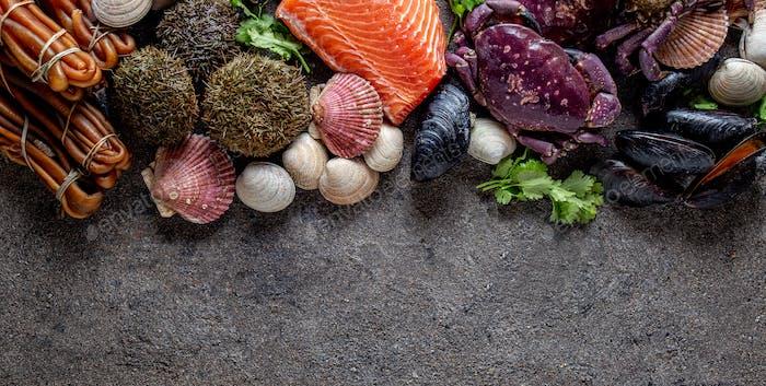 Pazifische Meeresfrüchte Hintergrund