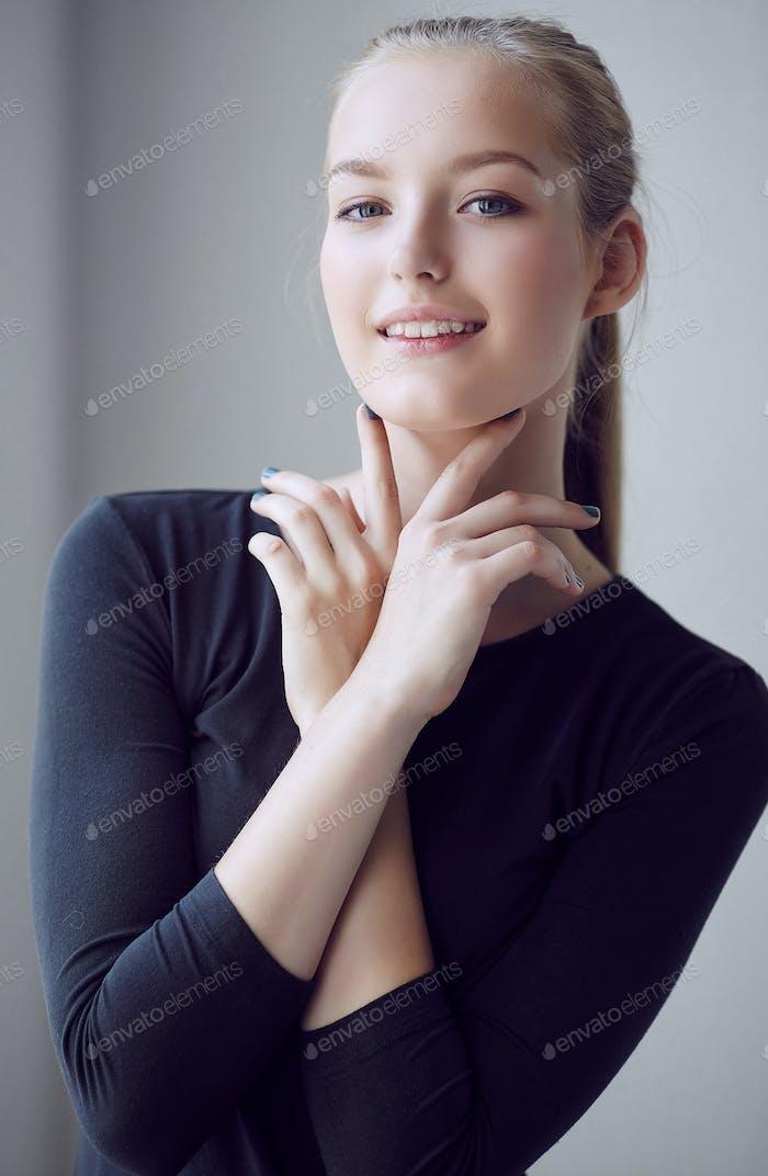 A woman in a black dress.