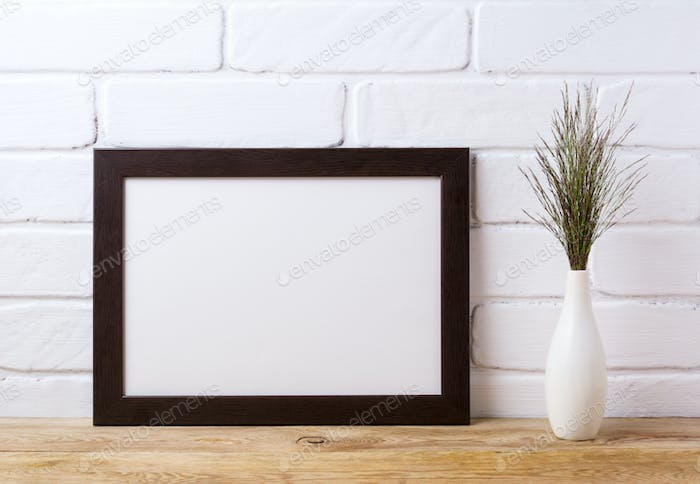 Black brown  landscape frame mockup with dark grass in elegant v
