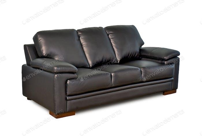 Black leather sofa Three Seater