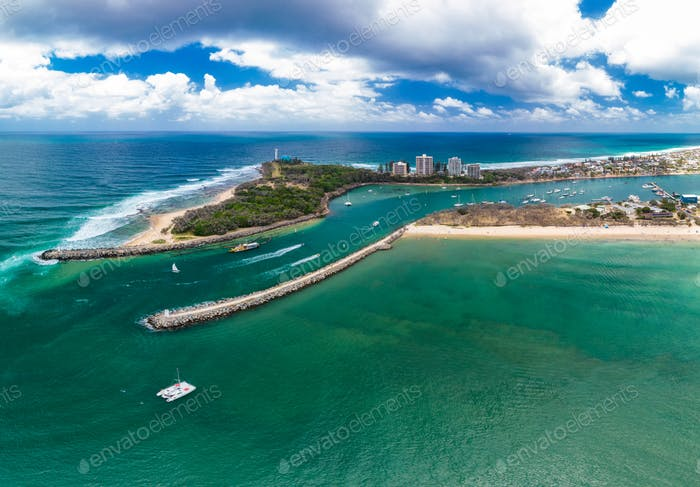 Drone view of famous Mooloolaba beach and marina