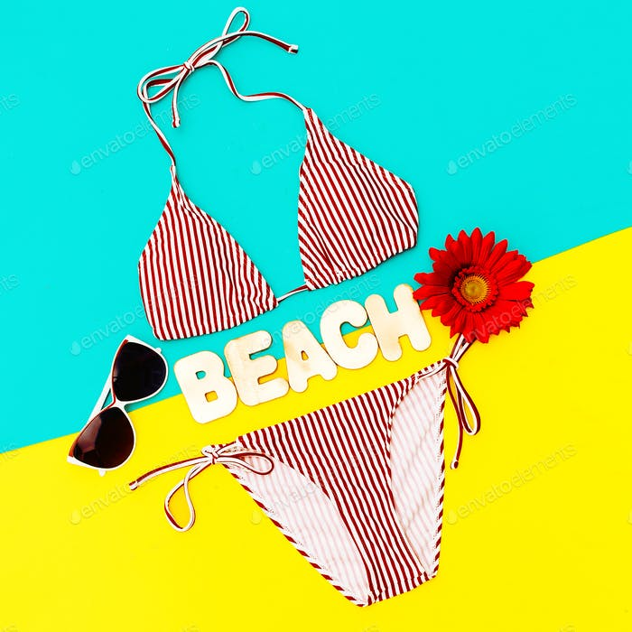 Stylish Bikini and accessories. Sunglasses. Trend Beach style