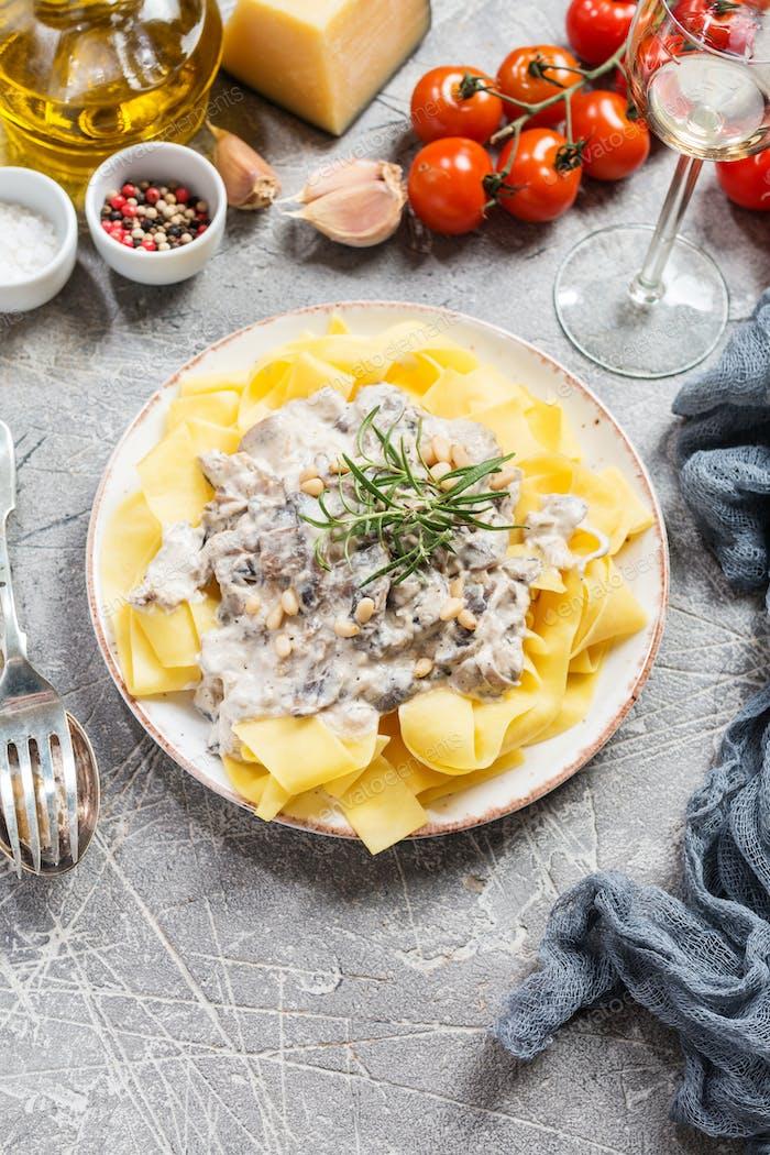 Tagliatelle pasta with Salmon
