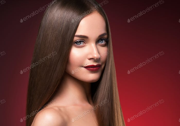 Beautiful hair woman long smooth brunette hairstyle beauty healthy hair female model portrait
