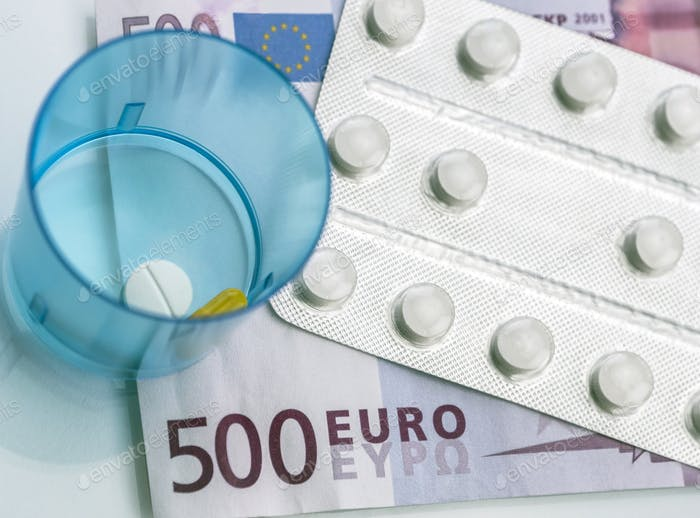 Some medications on a ticket of euro, conceptual image copay health