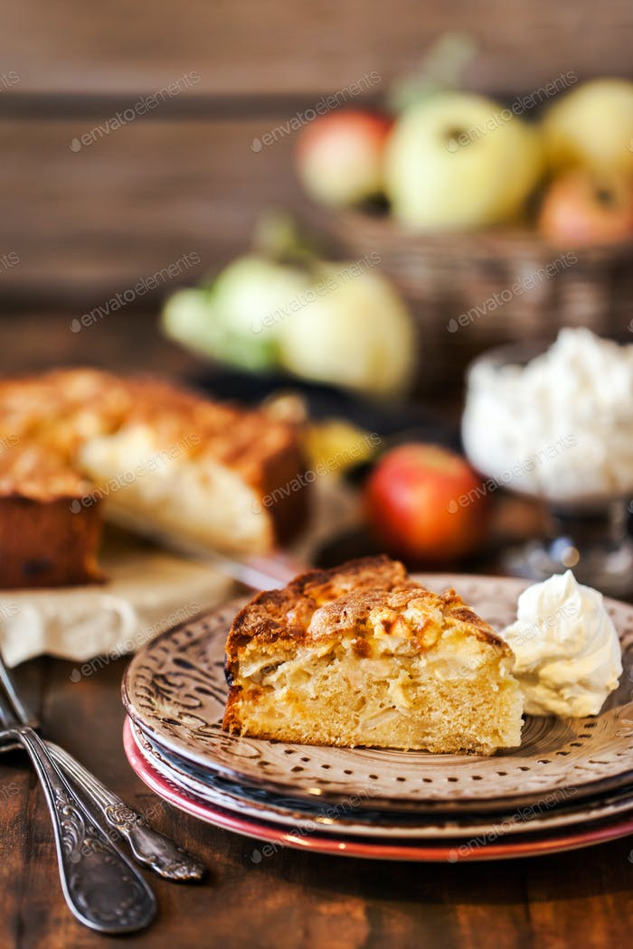 Fresh homemade delicious apple cake