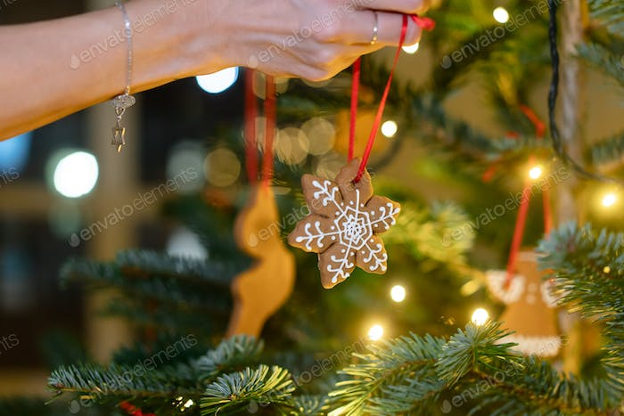 Female hand hangs a gingerbread snowflake on the Christmas tree