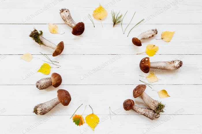 Autumn Wreath on the White Wooden Table
