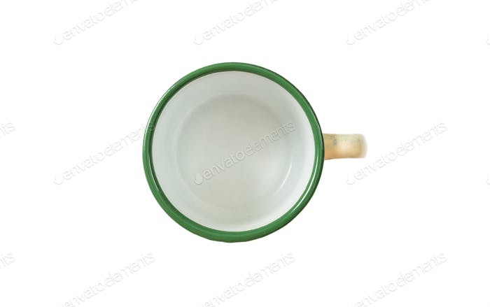 Coffee mug, enamel, green, with top view, cut out, isolated on a white background