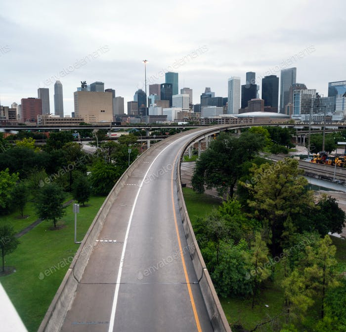 Houston Highway Downtown City Skyline Overcast Day Texas