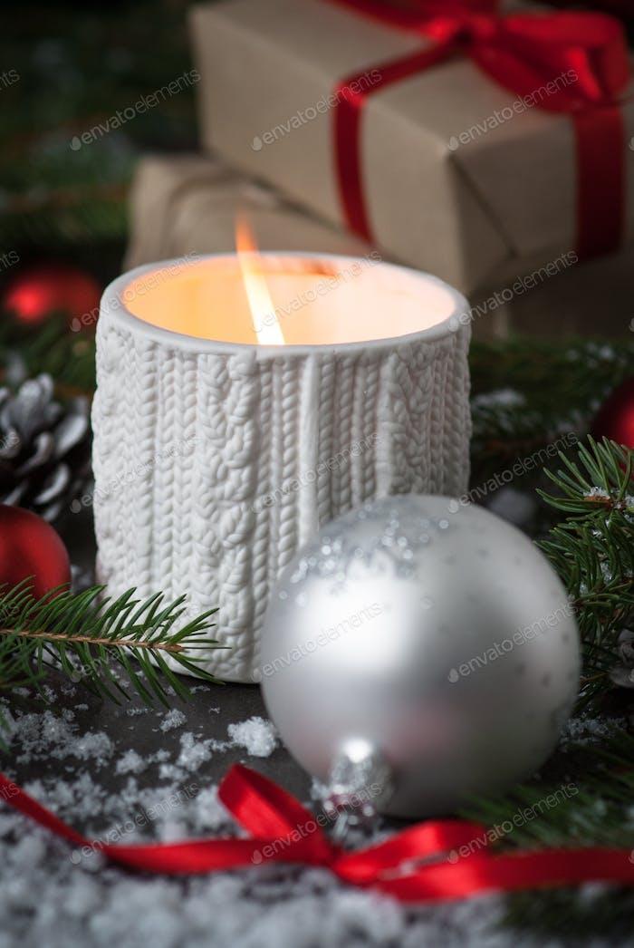 Weihnachtskerze Geschenk und Dekorationen
