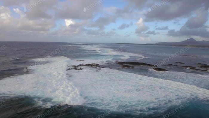 Foamy waves of Indian Ocean, aerial view