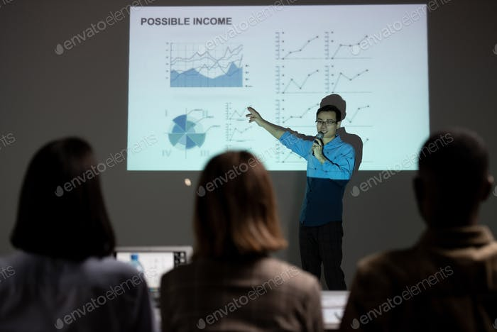 Forecasting income at business meeting