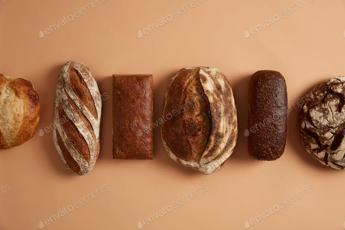 Gluten free fresh organic bread has healthy ingredients, made from refined flour, without sweeteners