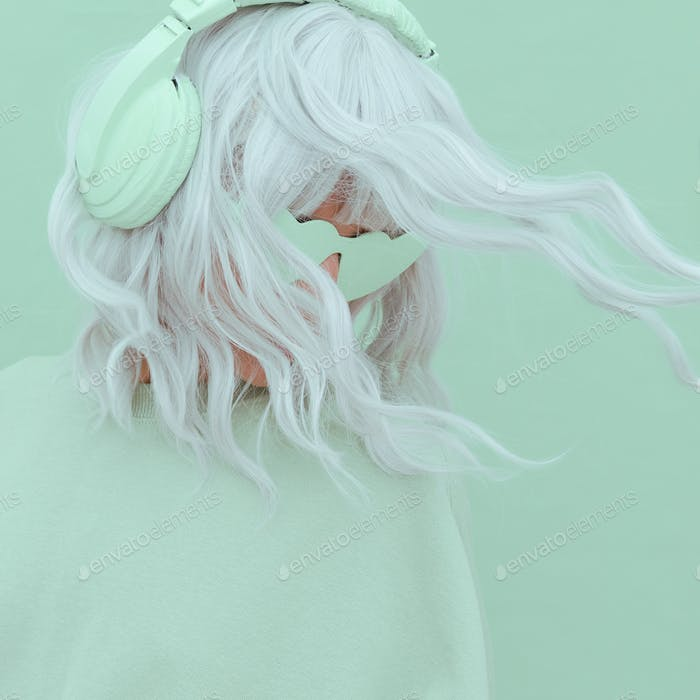 Vanilla Mint Dj Girl. Monochrome Party colours. Stylish headphones, music lover concept