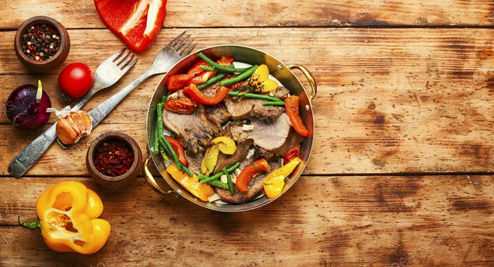 Beef tongue with vegetables