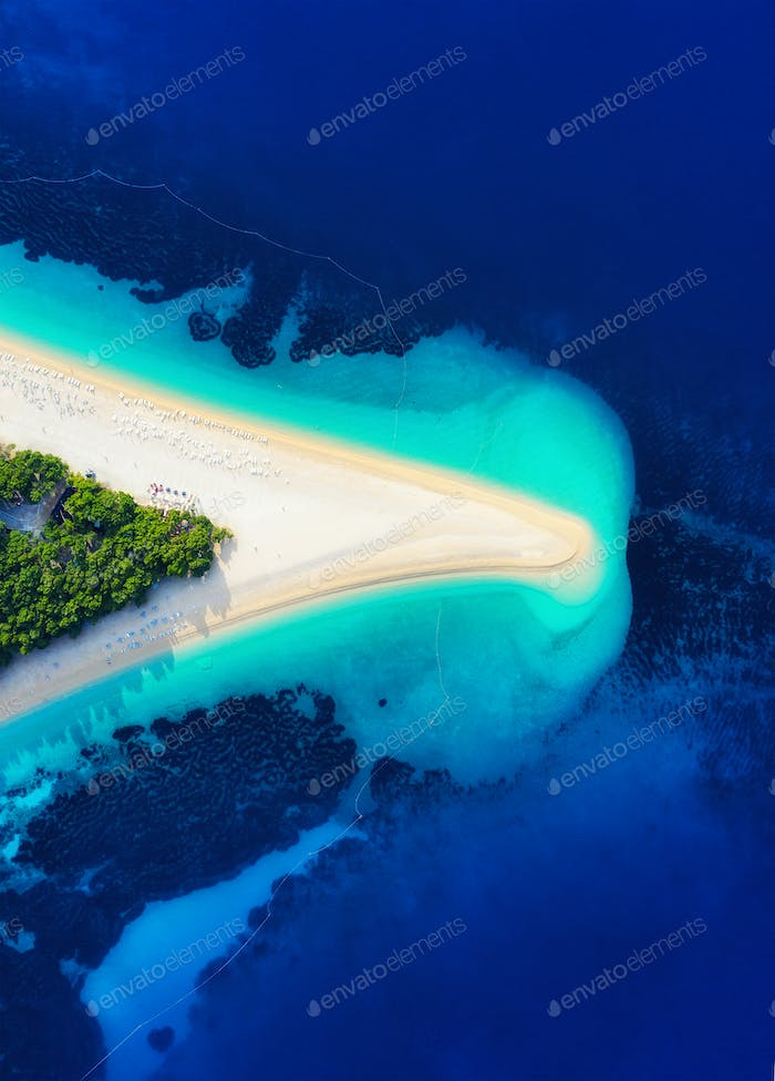 Croatia, Hvar island, Bol town. Aerial view at the Zlatni Rat beach. Famous place in Croatia.