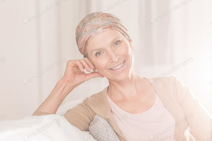 Cancer woman with positive attitude