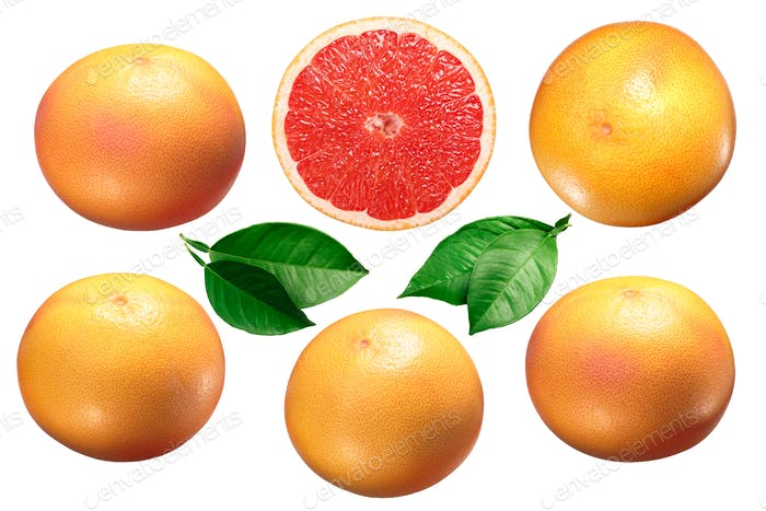 Grapefruit whole and halved, leaves, paths