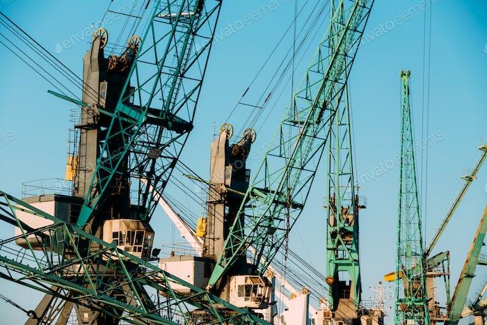 Old Heavy Loading Cranes In Port Dock