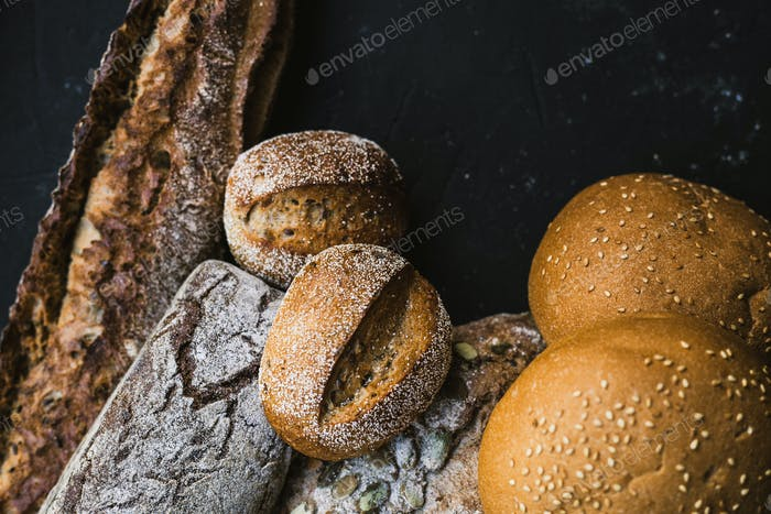 Many mixed breads and handmade bagels