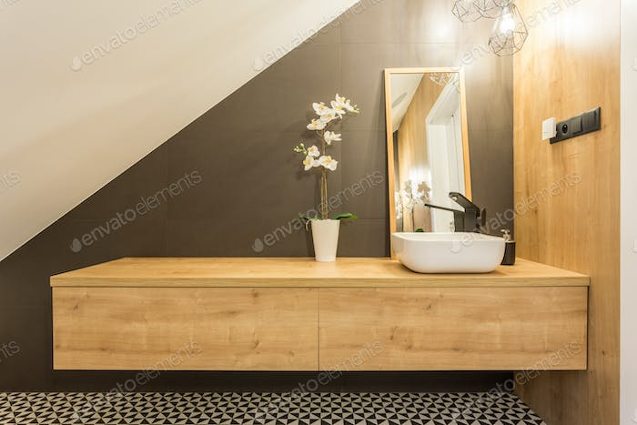 Shelf with washbasin and mirror
