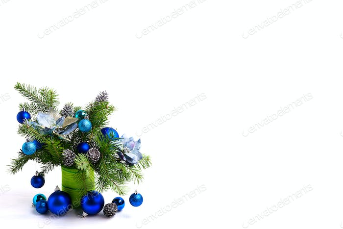 Christmas centerpiece with silk poinsettias, copy space