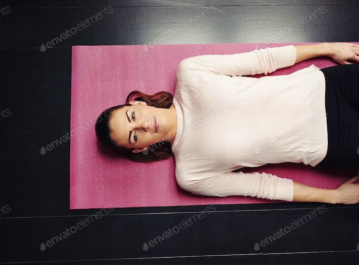 Female relaxing after workout