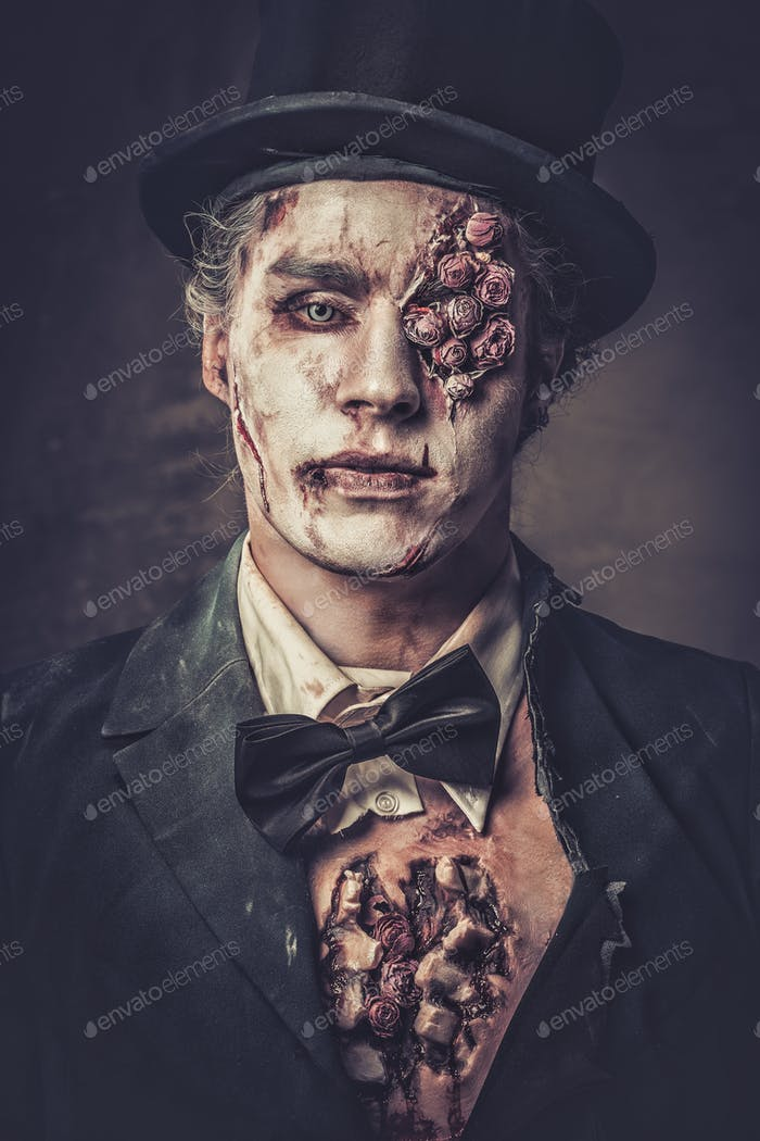 Dressed in wedding clothes romantic zombie man.