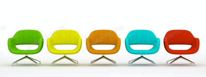 Multicolored modern armchairs isolated on white background 3d re
