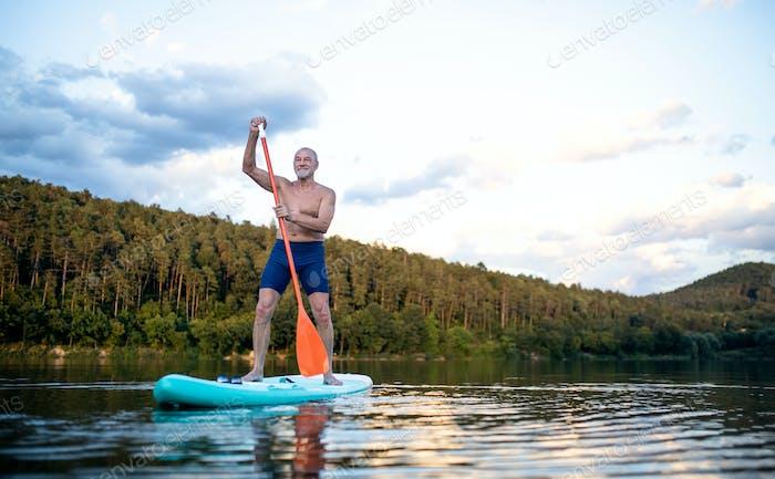 Senior man paddleboarding on lake in summer. Copy space