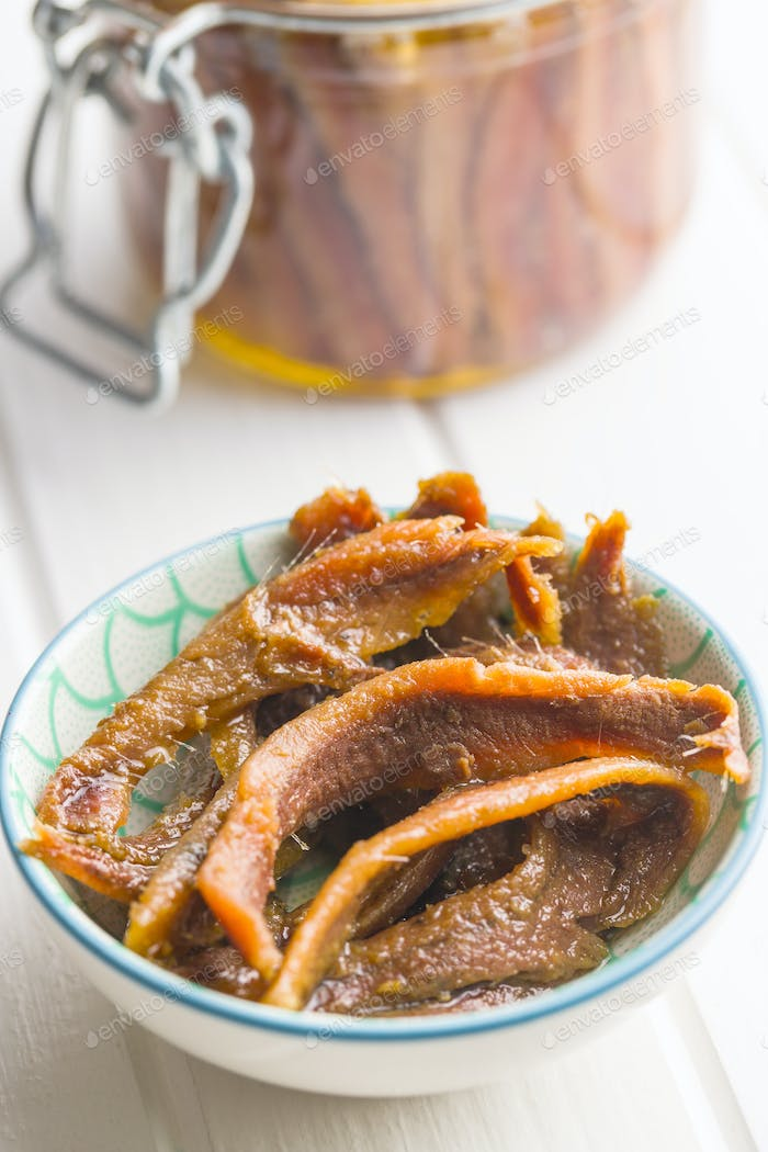 Anchovy fillets in oil.