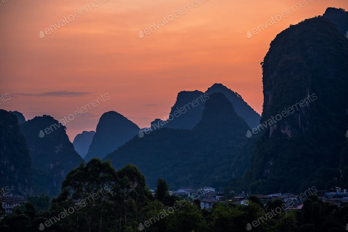 Yangshuo landscape panorama at dusk
