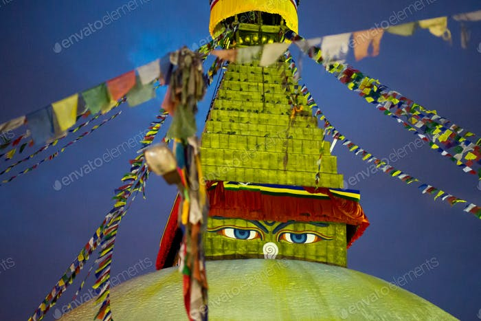 Boudhanath Stupa at night