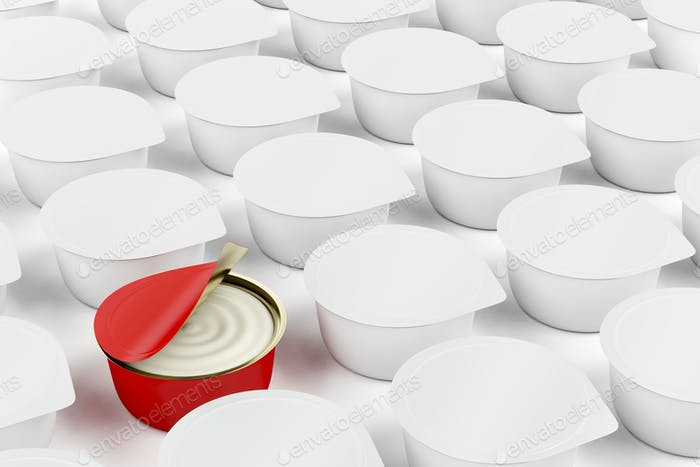 Red can with cream cheese, butter or other food