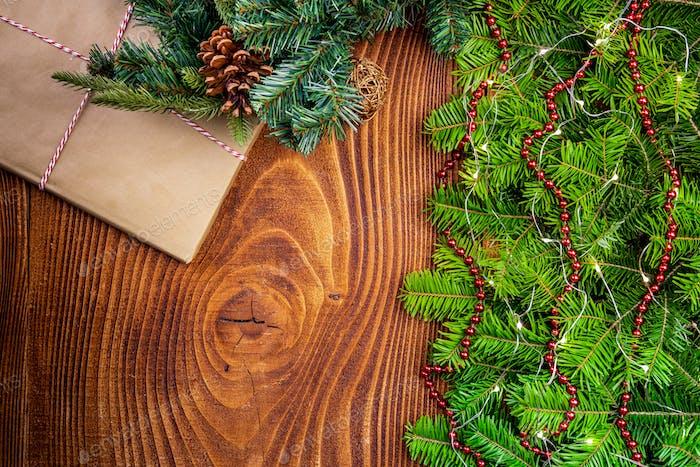 Weihnachten Festliche Bordüre Hintergrund. Flaches Lay Draufsicht.