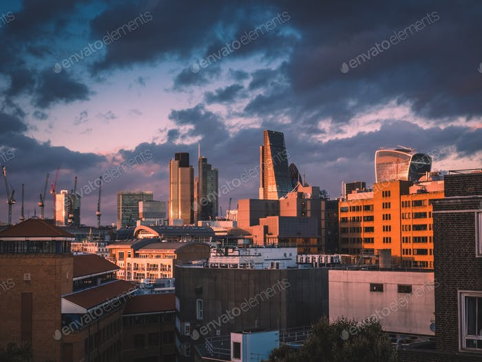 City of London at dusk