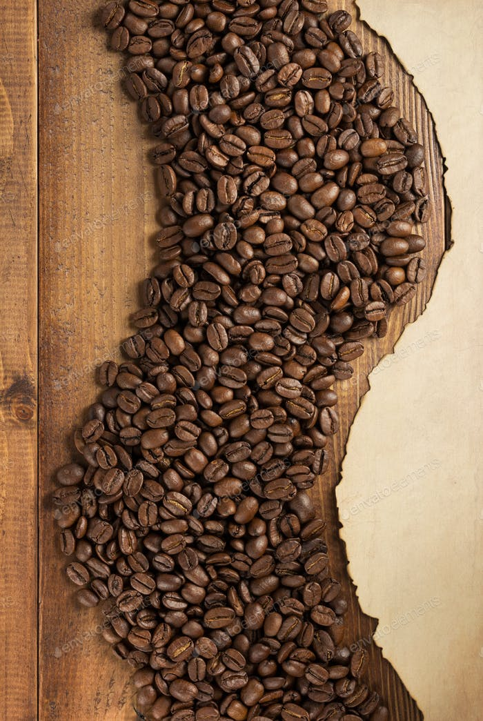 coffee beans and aged old paper