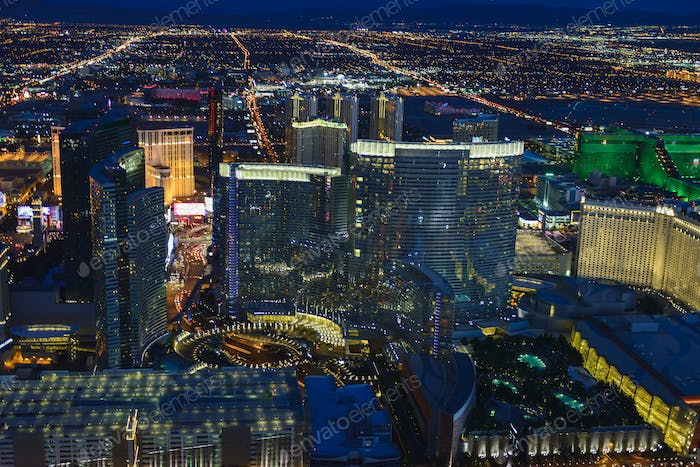 54954,Aerial view of Las Vegas cityscape lit up at night, Las Vegas, Nevada, United States