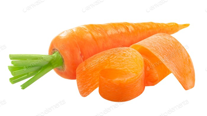 Fresh washed carrot with sliced shavings  isolated