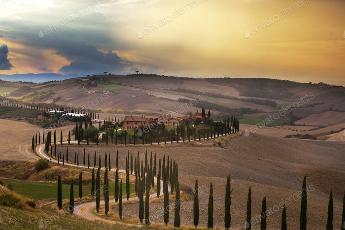 Tuscan landscape at autumn.