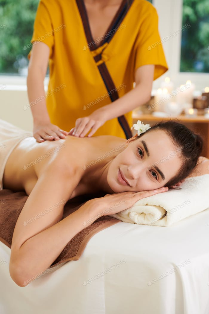 Girl relaxing during spa procedure