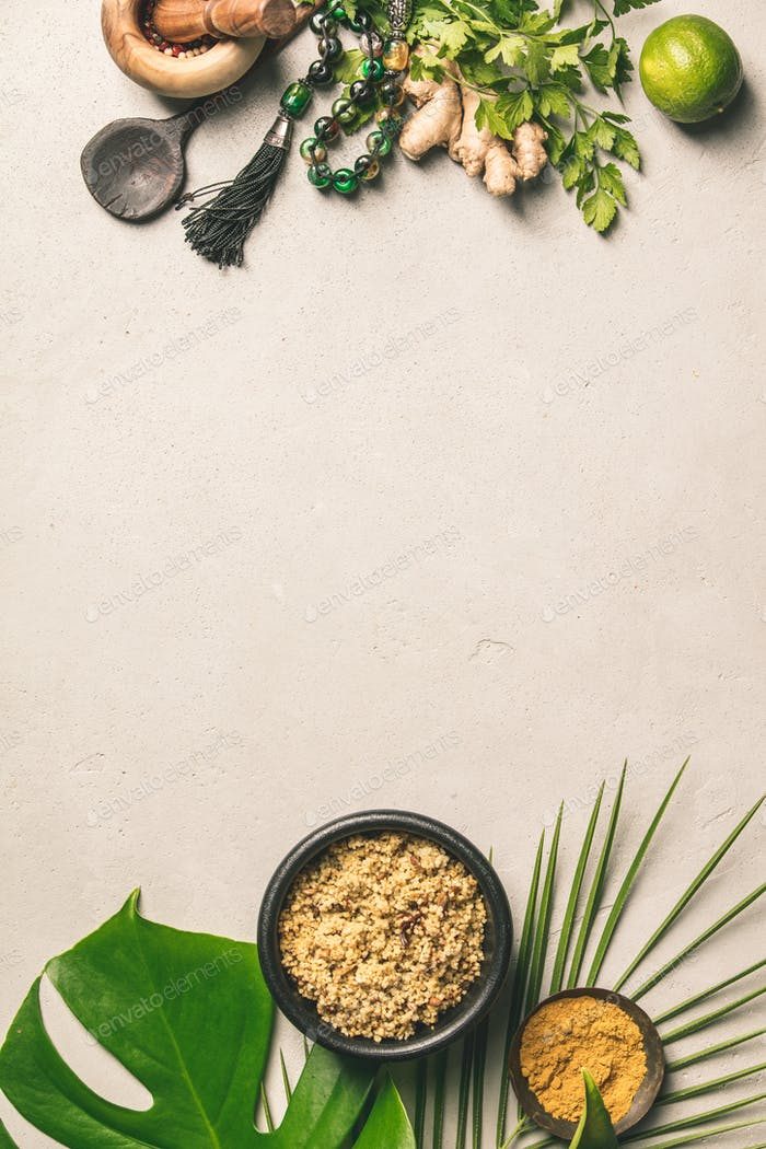 Couscous, green leaf and cooking ingredients