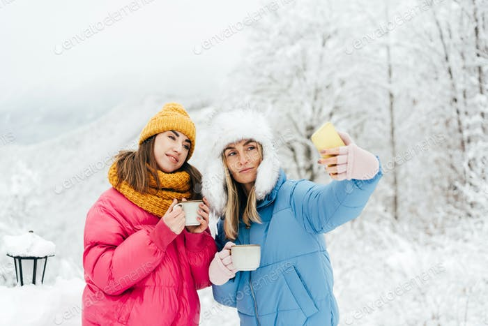 Two female friends make a selfie on a mobile in the winter in the mountains, wanderlust