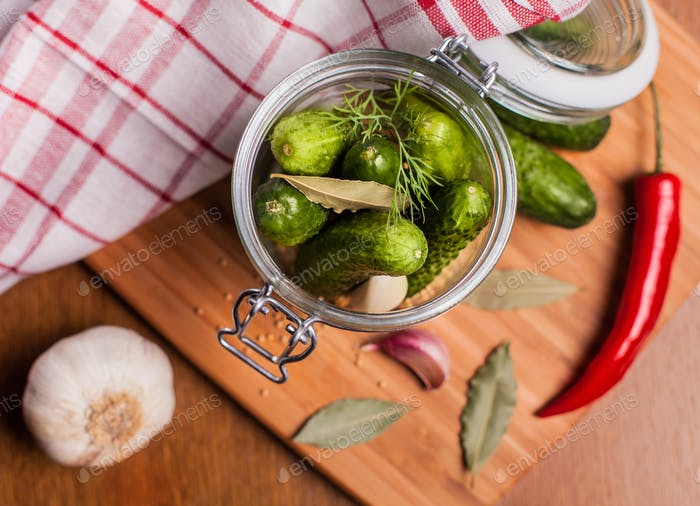 Close up of homemade pickled cucumbers