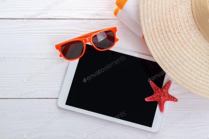 Summer background tablet mock up