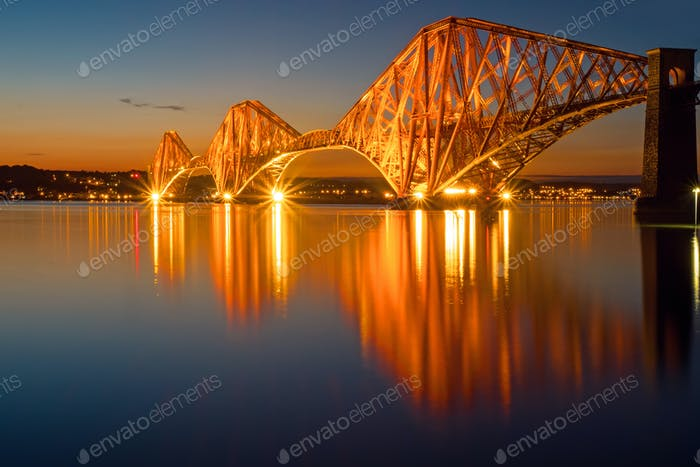 The illuminated Forth rail bridge