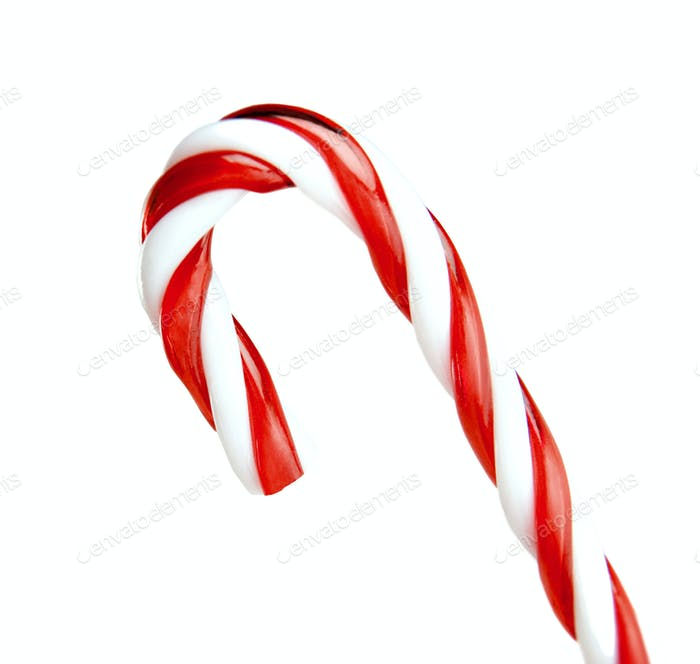 candy cane striped in Christmas colours isolated on a white background