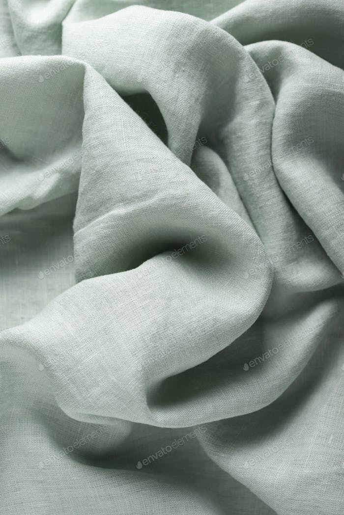 Linen fabric in light green color
